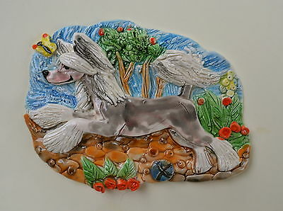 Chinese Crested.  Handsculpted ceramic wall plaque.Small.   .OOAK .LOOK