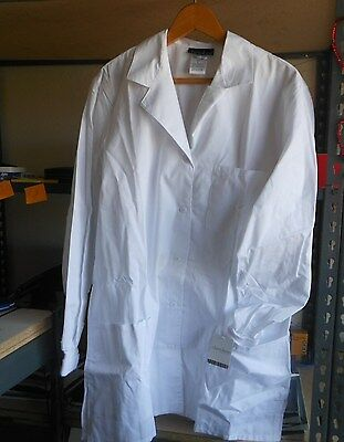 Scrubs Cherokee Womens Knit Cuff Lab Coat 1362 White ~~~ .99 AUCTION!