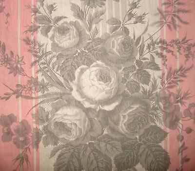 BEAUTIFUL FRAGMENT MID 19th CENTURY FRENCH PROVENCAL COTTON, ROSES