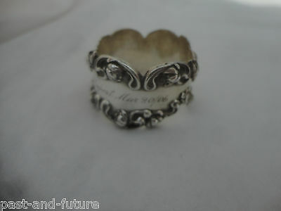 Art Nouveau Sterling Water Lily Napkin Ring Engraved Name Of Rupert, Mar 20/06