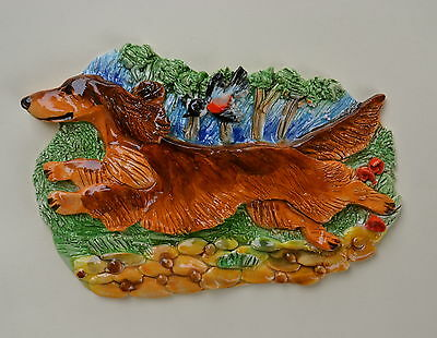 Longhaired Dachshund.  Handsculpted ceramic wall plaque.Small.   .OOAK .LOOK