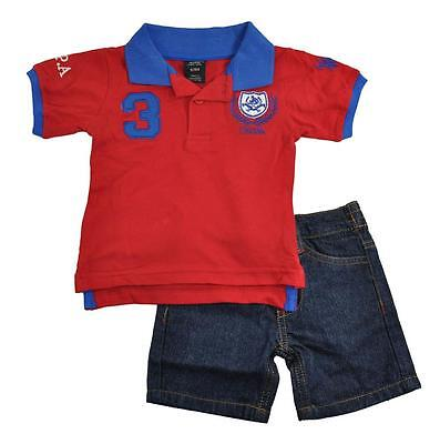 U.S. Polo Assn Infant Boys S/S Red Polo 2pc Short Set Size 3/6M 6/9M 12M 18M 24M