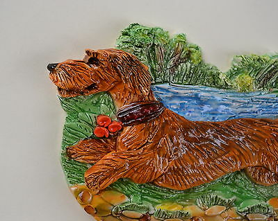 Wirehaired Dachshund.  Handsculpted ceramic wall plaque.Small.   .OOAK .LOOK