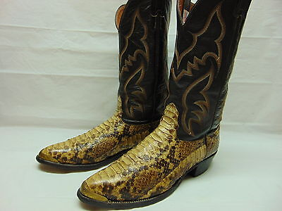 Mens 12 B Nocona Exotic Python Snake Brown Leather Western Cowboy Rodeo Boots