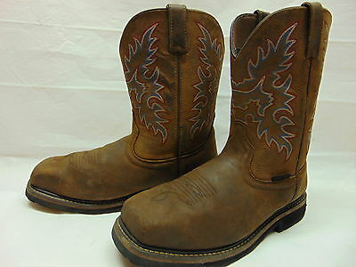 Mens 13 D Tan Leather Uppers Square Steel Toe Work Safety Rancher Pull On Boots