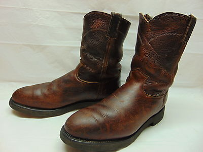 Justin Mens 13 Brown Leather Steel Toe Work Safety Rancher Biker Pull On Boots