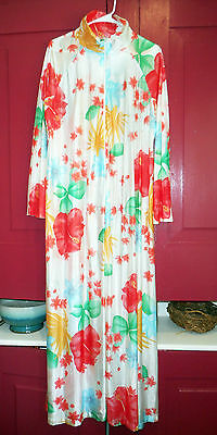 STUNNING Vintage Long Floral Slinky Acetate Nylon Zip-up Robe Lounging XL