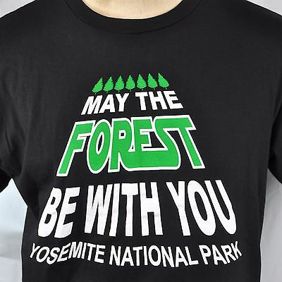 Star Wars Yosemite Park May The Forest Be With You T-Shirt Slim Large L New