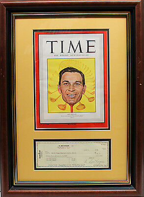 Ben Hogan Signed Autographed Check With Full Time Magazine Framed Golf Champion