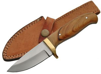 "FIXED-BLADE HUNTING KNIFE | 7.5"" Olive Wood Full Tang Skinner Blade with Sheath"