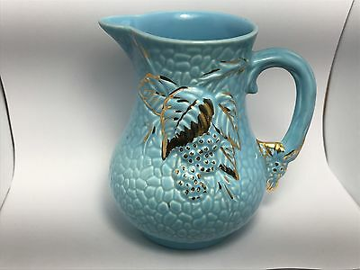Vintage WADE GOLDEN TURQUOISE Strawberry Leaf Bramble Milk CREAM PITCHER England