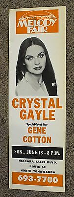 Rare Crystal Gayle Poster - Gene Cotton - Melody Fair - ORIGINAL - Buffalo, NY