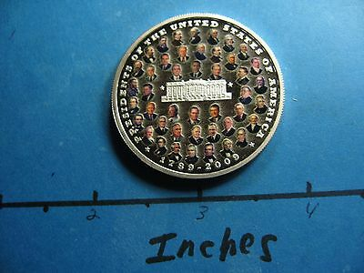 44 Presidents Of The United States Colored 1789-2009 Rare 999 Silver Coin Nice