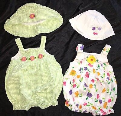 Girls 6-9 Month Vintage Summer Rompers 1pc Jumpsuit With Matching Sun Hat Floral
