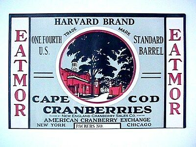 Harvard Brand 1/4 Bbl Collectible Cape Cod Cranberry Label Advertising