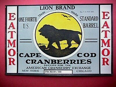 Lion Brand 1/4 Bbl Collectible Cape Cod Cranberry Label Advertising