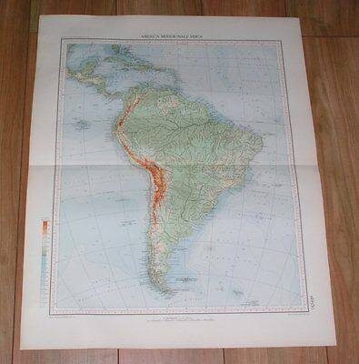 1927 Vintage Italian Physical Map Of South America Brazil Argentina Peru Chile