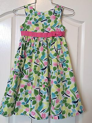 Girls Gymboree Floral Dress 6 Pink Watercolor Full Skirt Sleeveless Summer
