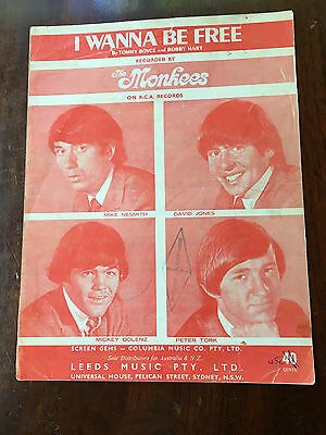 THE MONKEES - I Wanna Be Free. Australian Sheet Music