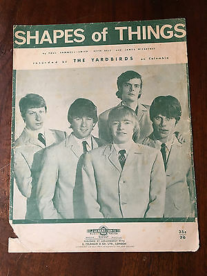 THE YARDBIRDS - Shapes Of Things. Australian Sheet Music