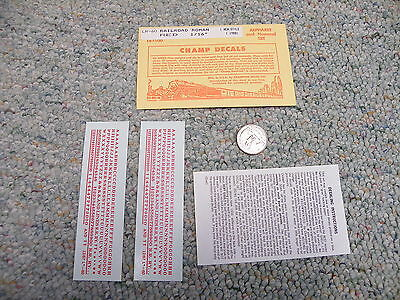 """Champ  decals HO Alphabet Numbers LR-1  Railroad Roman 3//16/"""" red  M10"""