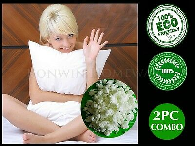 Twin Pack 100% Natural Eco Latex Cloud Soft Pillow-Cotton Padded Cover