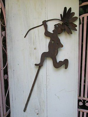 FABULOUS Old Vintage CAST METAL GARDEN STAKE Man with FLOWER Rusty Patina