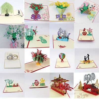 3D Pop Up Cards Carousel Lover Happy Birthday Anniversary Greeting Cards