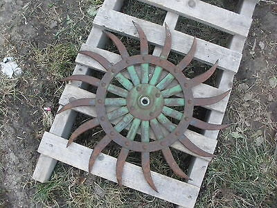 (1) JD Rotary Hoe Wheel Sunflower Yard Garden Wall Art SteamPunk approx 19-1/2""