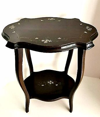 Antique Accent Table Small Wooden Hand Painted Floral w/ Shelf 18.5 inches Tall