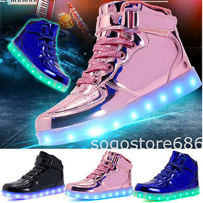 Women Kids LED Light Up Shoes USB Sneakers Lace Up Casual High Top Luminous Shoe