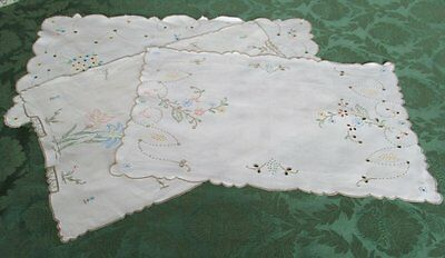 ANTIQUE MADEIRA TRAY CLOTHS HAND EMBROIDERED - LINEN - COL. of 3