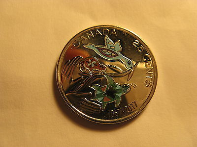 Canada 150 Years Celebration 2017 25 Cent Coloured Coin Hope For A Green Future.