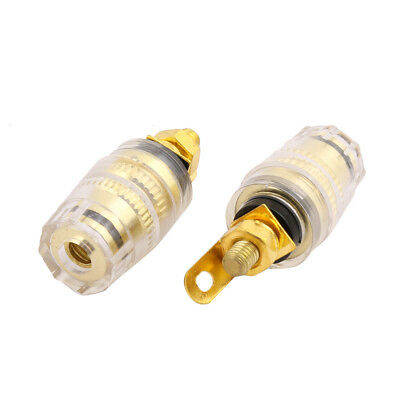 Copper Binding Post Gold Tone 2 PCS for Audio Speaker Banana Connector