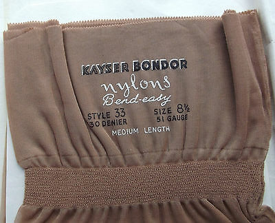 """Vintage fully fashioned stockings 8.5"""" 1950s 30 denier KAYSER Seamed Bend-Easy"""
