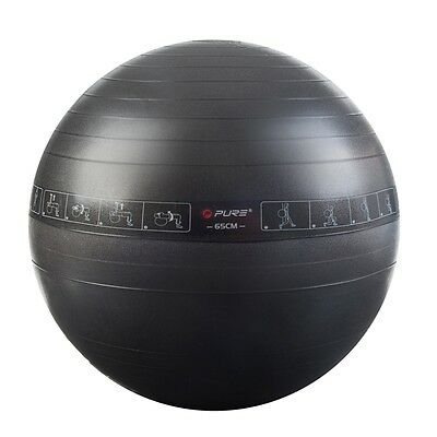 Pure2Improve Ballon d'exercice noir 65 cm Ballon De Gymnastique Fitness