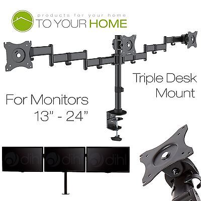 "Dihl Triple Arm Screen Desk Mount Bracket LED Computer Monitor Stand 13-24"" TV"