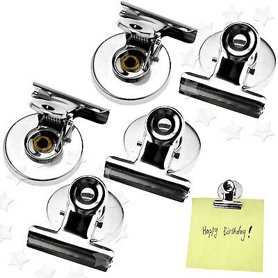 5 Pieces Magnetic Clips Fridge Magnet Refrigerator Holder Meno Note Message Clip