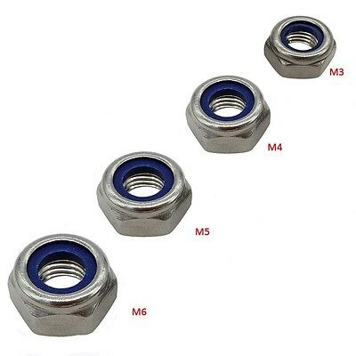 Stainless Steel Nyloc/Nylon Insert Locking Nuts M3 M4 M5 M6 To Fit Bolt & Screw