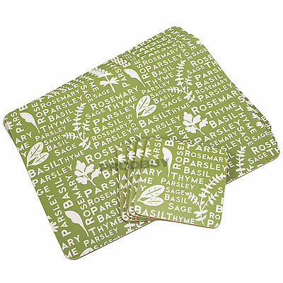 Set of 4 Placemats & Coasters Kendal Green Herb Words Dinner Table Setting Mats