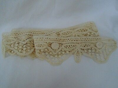 vintage antique primitive old lace tat ecru beige fabric edging sewing trim