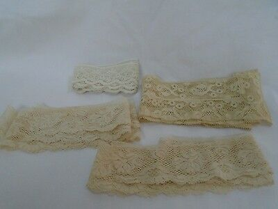 vintage antique primitive old lace ecru beige fabric edging sewing trim lot