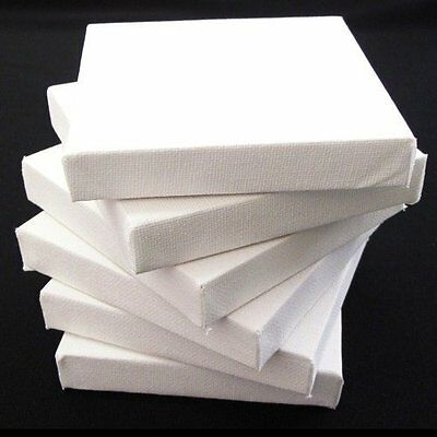"6 x Blank Artists Canvas 20 x 20 cm Deep Edge 3D Stretched 8"" x 8"" Primed NEW"