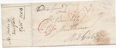 * 1804 Red Edinburgh Scroll Post Paid On Front To Muirhouse Midcalder Pre-Stamp