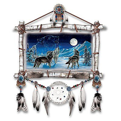 Native American Style Dream Catcher Glow in the Dark Wolf Wall Decor Wolves NEW