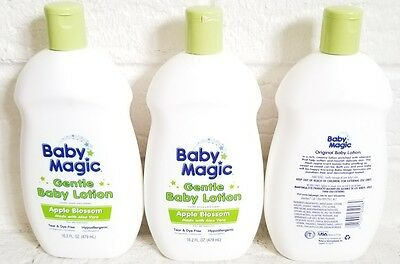 3 New Baby Magic Gentle Baby Lotion Apple Blossom Tear & Dye Free Hypoallergenic