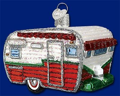 Old World Christmas Travel Trailer Ornament FREE BOX 46041
