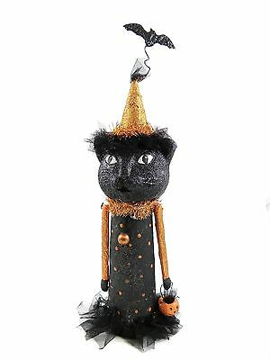 KD Vintage Agatha the Diva Black Cat Halloween Paper Mache Decoration New F822