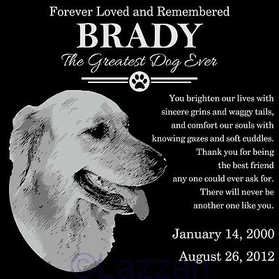 "Personalized Golden Retriever Dog Pet Memorial 12"" Grave Marker Headstone Stone"