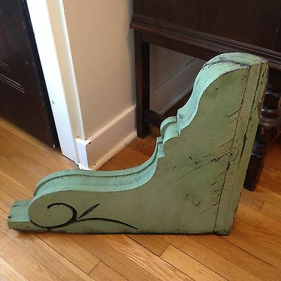 Antique Large Green Wooden Victorian Gingerbread Corbel Architectural Salvage